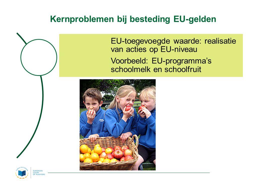 Kernproblemen bij besteding EU-gelden EU-toegevoegde waarde: realisatie van acties op EU-niveau Voorbeeld: EU-programma's schoolmelk en schoolfruit