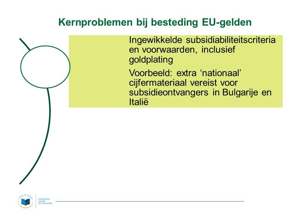 Kernproblemen bij besteding EU-gelden Ingewikkelde subsidiabiliteitscriteria en voorwaarden, inclusief goldplating Voorbeeld: extra 'nationaal' cijfermateriaal vereist voor subsidieontvangers in Bulgarije en Italië