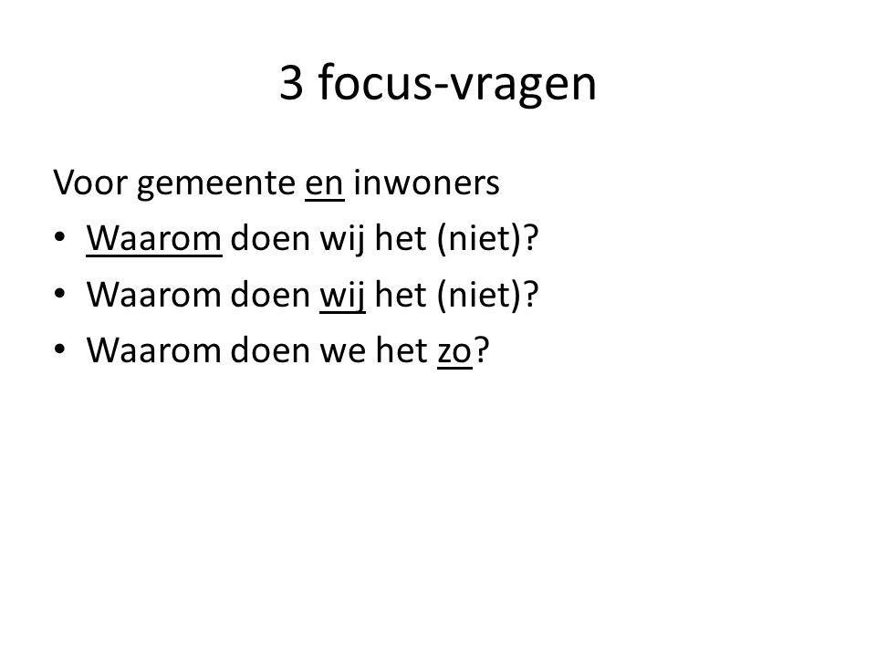 3 focus-vragen Voor gemeente en inwoners Waarom doen wij het (niet)? Waarom doen we het zo?