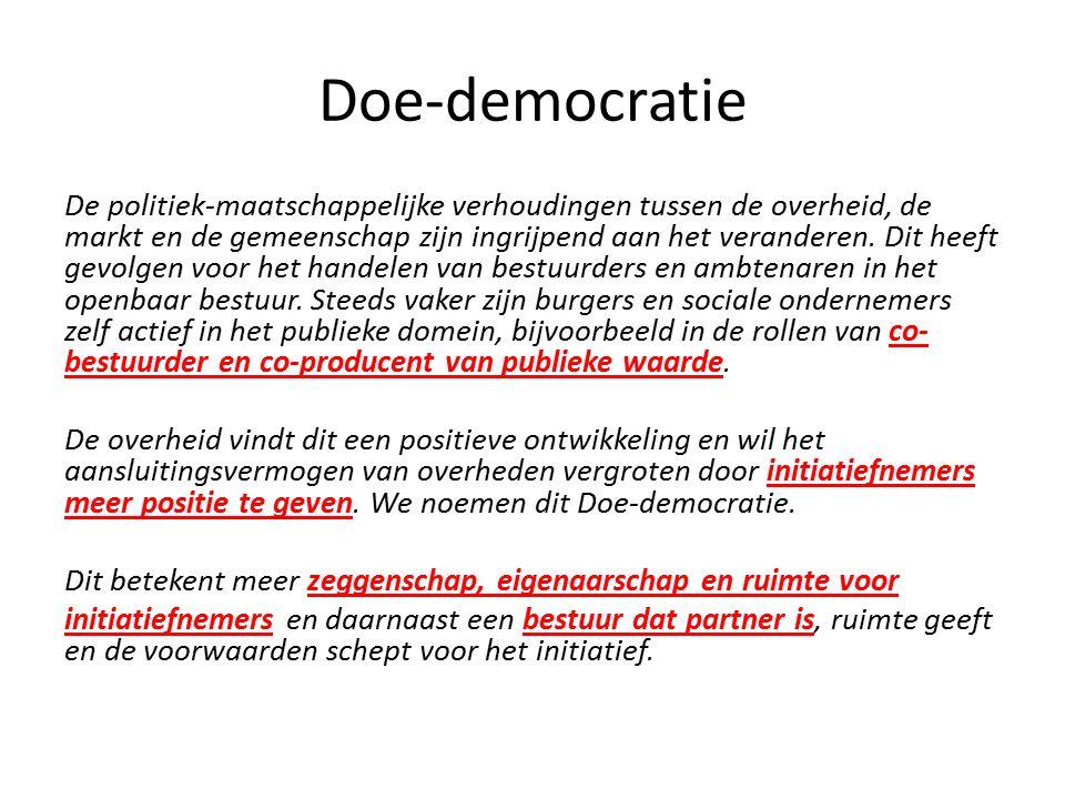 Doe-democratie De politiek-maatschappelijke verhoudingen tussen de overheid, de markt en de gemeenschap zijn ingrijpend aan het veranderen. Dit heeft