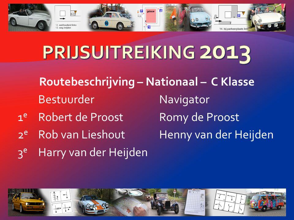 Routebeschrijving – Nationaal – B Klasse BestuurderNavigator 1 e Jo DabekaussenLudo Cretz 2 e Jan ScheepersThei Scheepers 3 e Piet LoeffenMarianne Loeffen