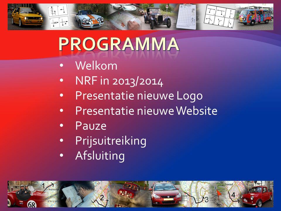 Welkom NRF in 2013/2014 Presentatie nieuwe Logo Presentatie nieuwe Website Pauze Prijsuitreiking Afsluiting