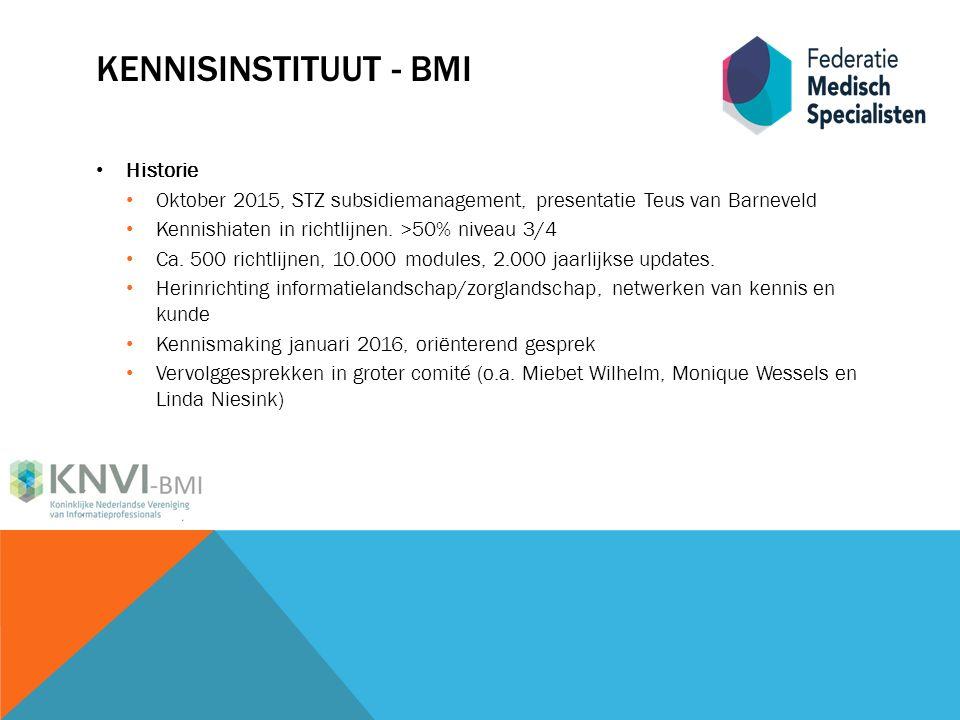 KENNISINSTITUUT - BMI Historie Oktober 2015, STZ subsidiemanagement, presentatie Teus van Barneveld Kennishiaten in richtlijnen.