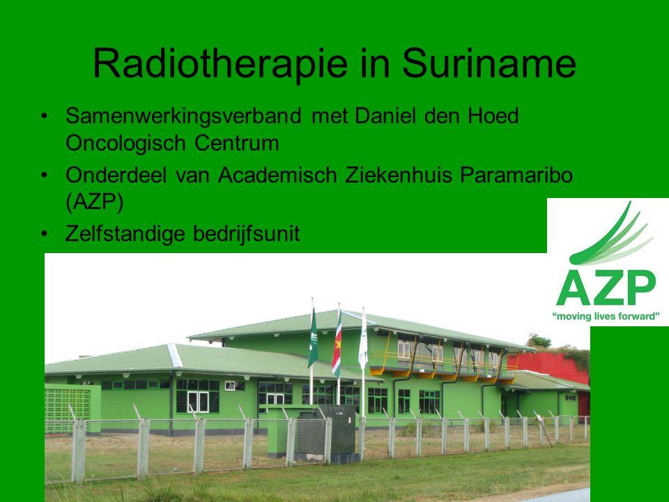 Radiotherapie in Suriname Samenwerkingsverband met Daniel den Hoed Oncologisch Centrum Onderdeel van Academisch Ziekenhuis Paramaribo (AZP) Zelfstandige bedrijfsunit