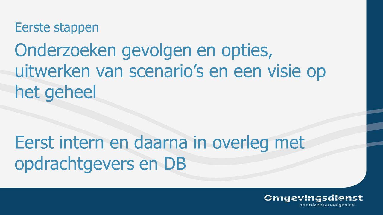 Eerste stappen Onderzoeken gevolgen en opties, uitwerken van scenario's en een visie op het geheel Eerst intern en daarna in overleg met opdrachtgevers en DB