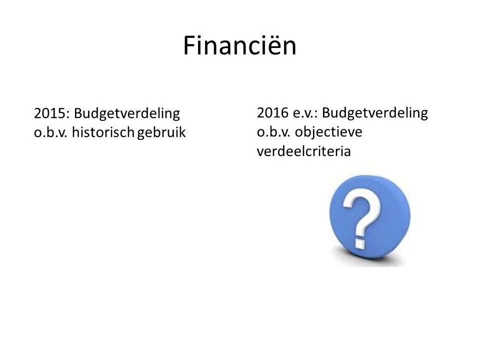 Financiën 2015: Budgetverdeling o.b.v. historisch gebruik 2016 e.v.: Budgetverdeling o.b.v.