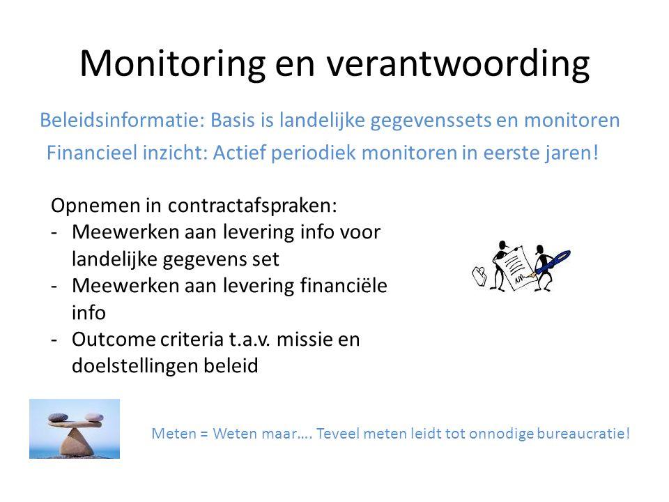 Monitoring en verantwoording Beleidsinformatie: Basis is landelijke gegevenssets en monitoren Financieel inzicht: Actief periodiek monitoren in eerste jaren.