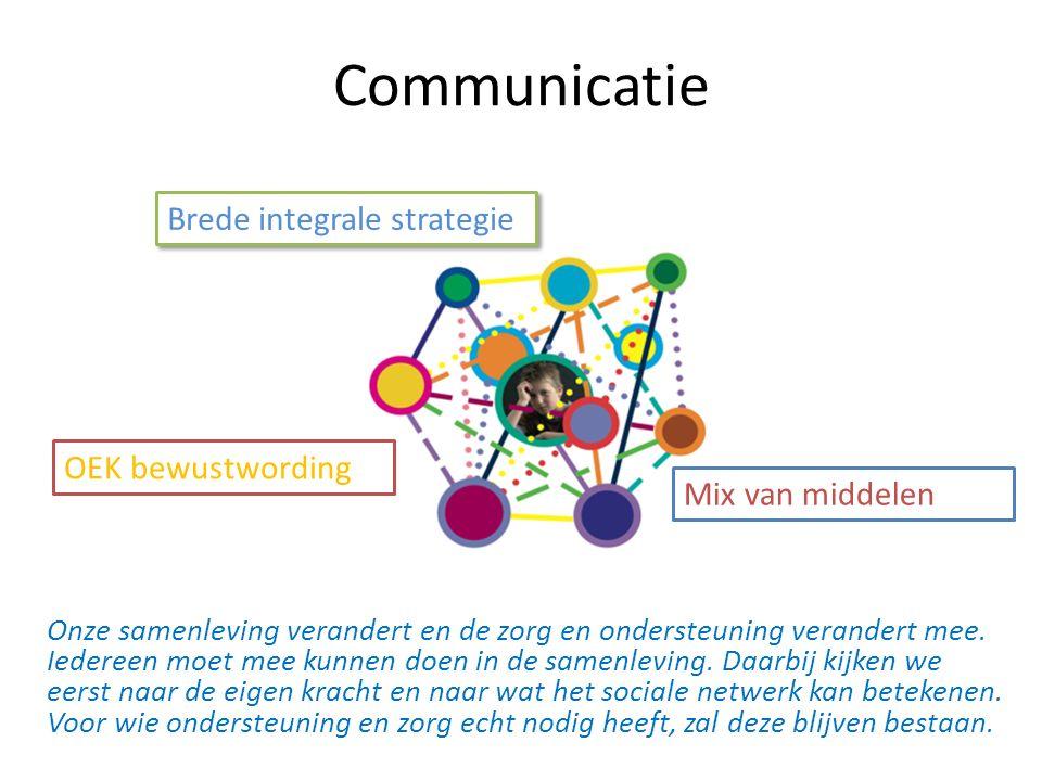 Communicatie Brede integrale strategie Mix van middelen OEK bewustwording Onze samenleving verandert en de zorg en ondersteuning verandert mee.