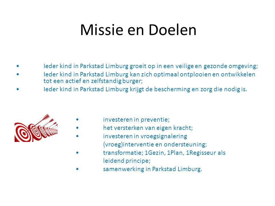 Missie en Doelen Ieder kind in Parkstad Limburg groeit op in een veilige en gezonde omgeving; Ieder kind in Parkstad Limburg kan zich optimaal ontplooien en ontwikkelen tot een actief en zelfstandig burger; Ieder kind in Parkstad Limburg krijgt de bescherming en zorg die nodig is.