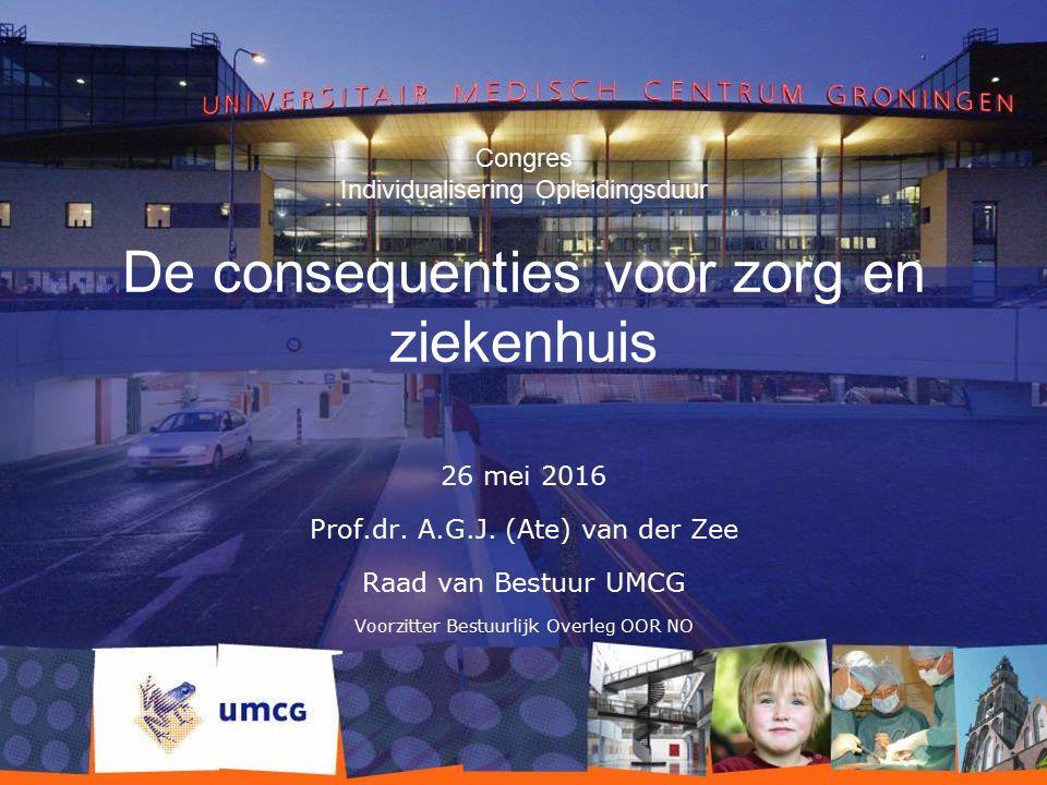 Congres Individualisering Opleidingsduur De consequenties voor zorg en ziekenhuis 26 mei 2016 Prof.dr. A.G.J. (Ate) van der Zee Raad van Bestuur UMCG