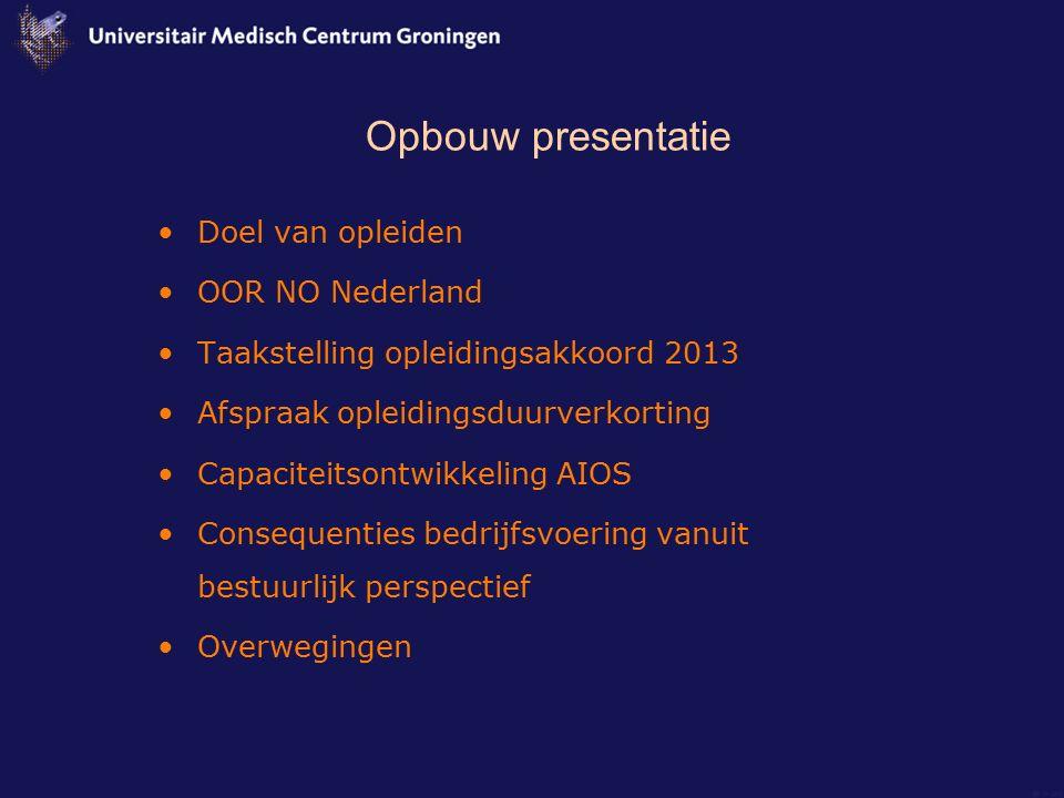 Opbouw presentatie Doel van opleiden OOR NO Nederland Taakstelling opleidingsakkoord 2013 Afspraak opleidingsduurverkorting Capaciteitsontwikkeling AI