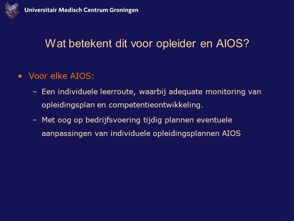 Wat betekent dit voor opleider en AIOS? Voor elke AIOS: –Een individuele leerroute, waarbij adequate monitoring van opleidingsplan en competentieontwi