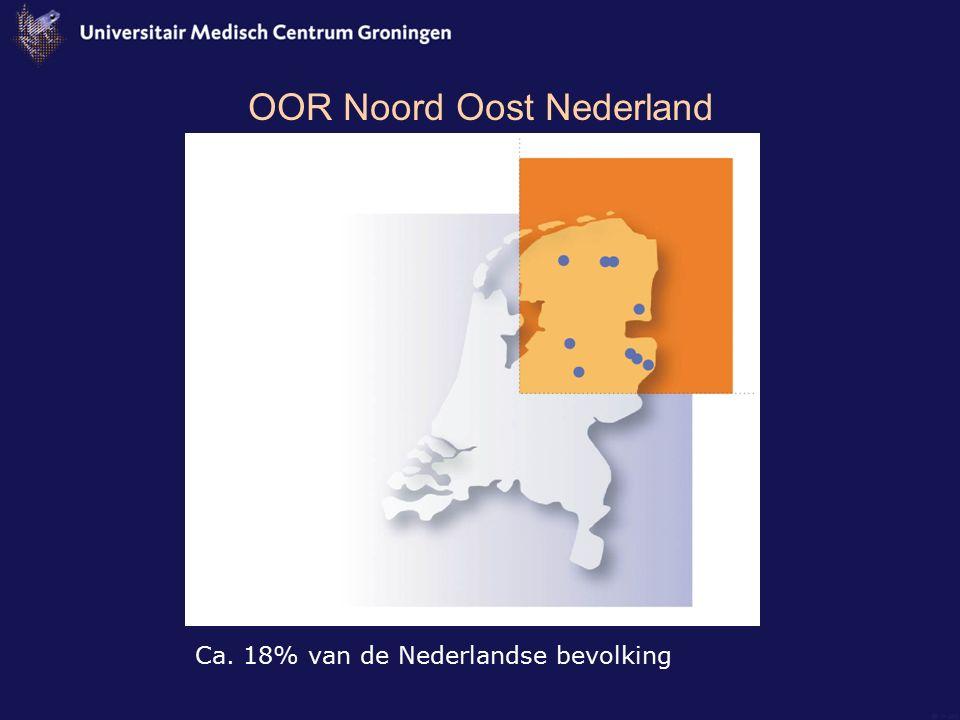 OOR Noord Oost Nederland Ca. 18% van de Nederlandse bevolking