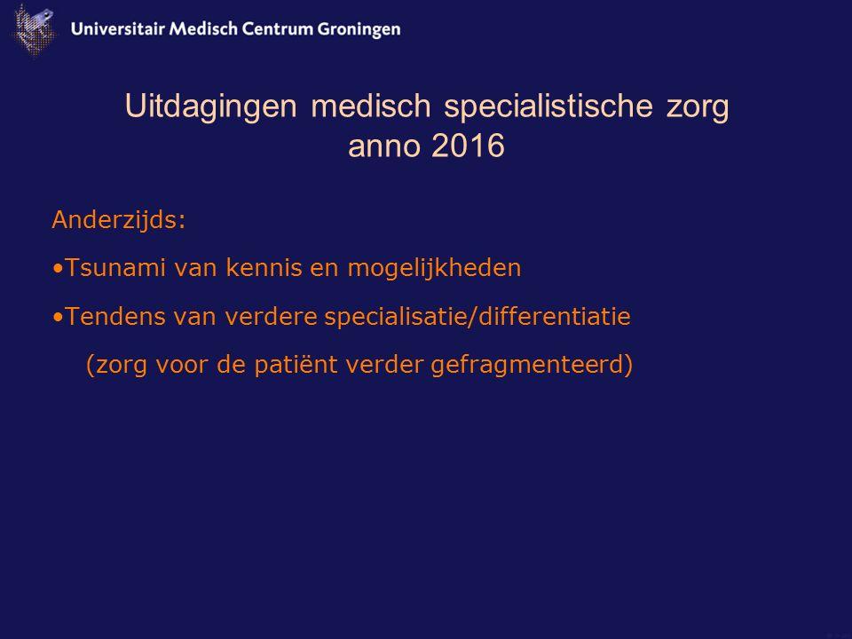 Uitdagingen medisch specialistische zorg anno 2016 Anderzijds: Tsunami van kennis en mogelijkheden Tendens van verdere specialisatie/differentiatie (z