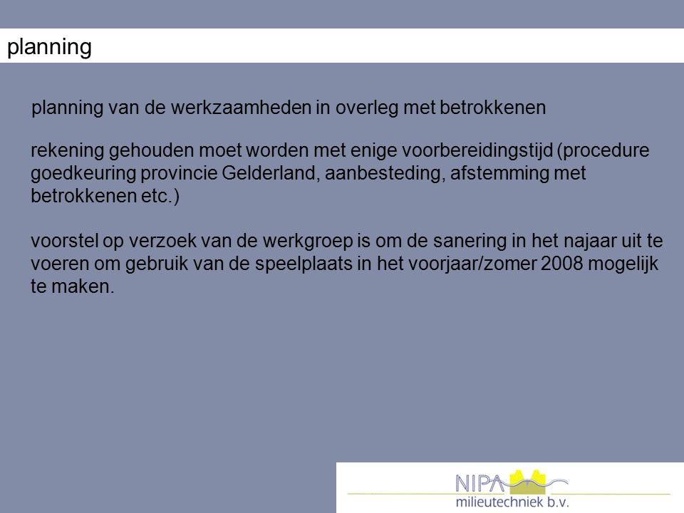 planning planning van de werkzaamheden in overleg met betrokkenen rekening gehouden moet worden met enige voorbereidingstijd (procedure goedkeuring pr