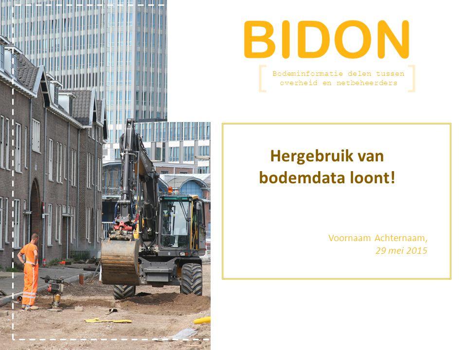 BIDON Bodeminformatie delen tussen overheid en netbeheerders Relatie met omgevingsontwikkelingen BRO Omgevingswet Laan v.d.