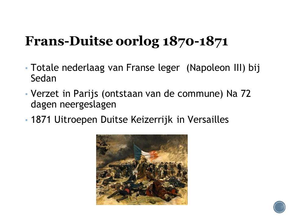 Frans-Duitse oorlog 1870-1871 ▪ Totale nederlaag van Franse leger (Napoleon III) bij Sedan ▪ Verzet in Parijs (ontstaan van de commune) Na 72 dagen neergeslagen ▪ 1871 Uitroepen Duitse Keizerrijk in Versailles