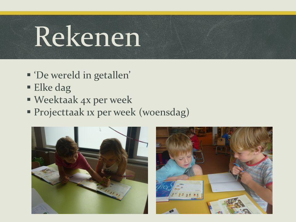 Rekenen  'De wereld in getallen'  Elke dag  Weektaak 4x per week  Projecttaak 1x per week (woensdag)