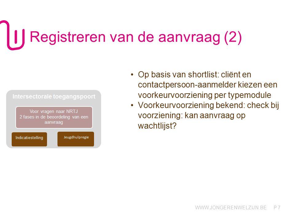 WWW.JONGERENWELZIJN.BE P 18 Jeugdrechtbank en jeugdhulpregie Jeugdrechter gaat niet via team indicatiestelling SDJ levert A-document met indicatiestellingsverslag af aan JHR.