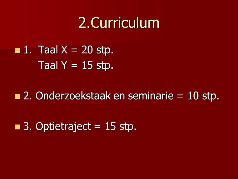 2.Curriculum 1. Taal X = 20 stp. 1. Taal X = 20 stp.