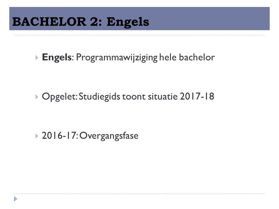 BACHELOR 2: Engels  Engels: Programmawijziging hele bachelor  Opgelet: Studiegids toont situatie 2017-18  2016-17: Overgangsfase