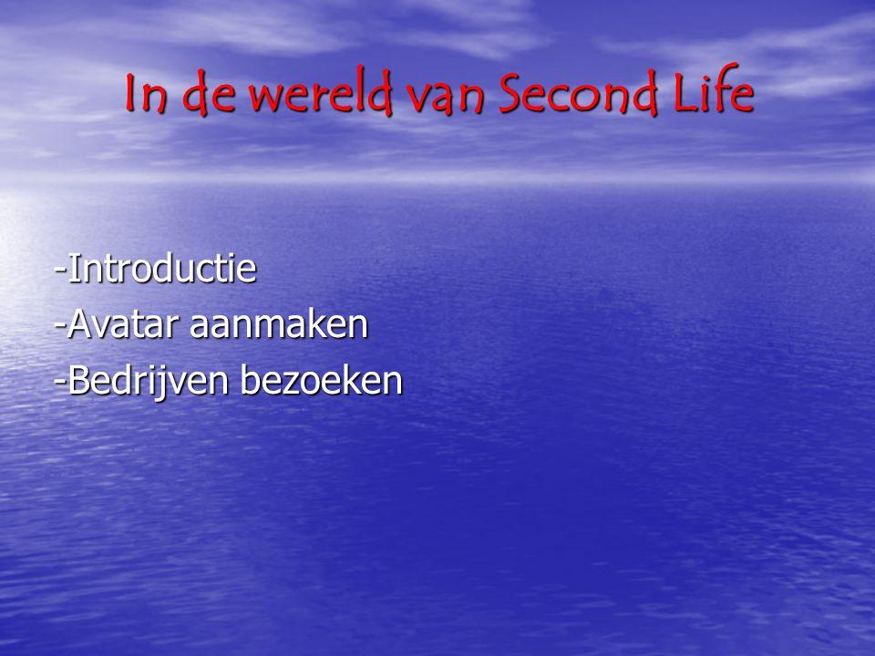 In de wereld van Second Life -Introductie -Avatar aanmaken -Bedrijven bezoeken