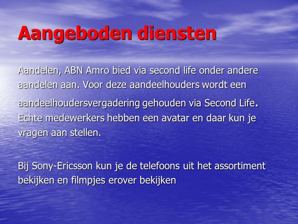 Aangeboden diensten Aandelen, ABN Amro bied via second life onder andere aandelen aan.