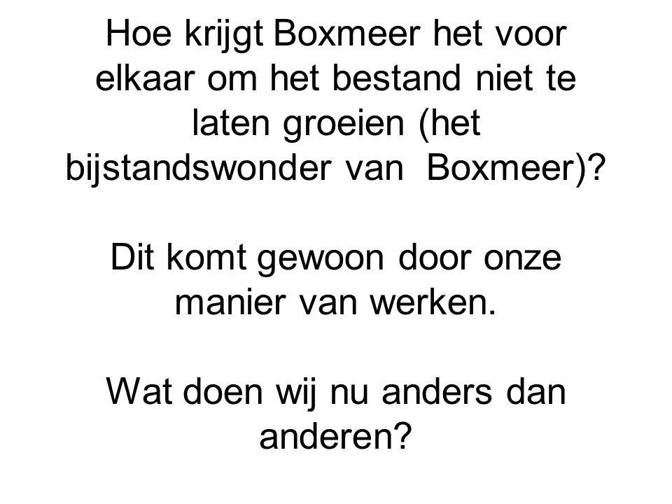 Hoe krijgt Boxmeer het voor elkaar om het bestand niet te laten groeien (het bijstandswonder van Boxmeer)? Dit komt gewoon door onze manier van werken