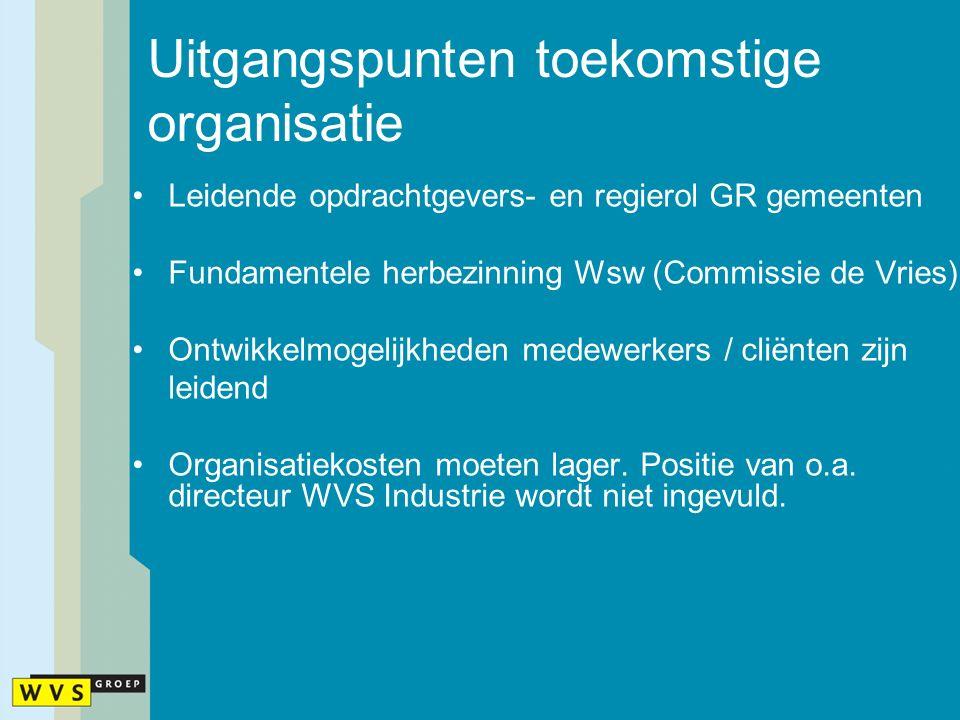 Uitgangspunten toekomstige organisatie Leidende opdrachtgevers- en regierol GR gemeenten Fundamentele herbezinning Wsw (Commissie de Vries) Ontwikkelm