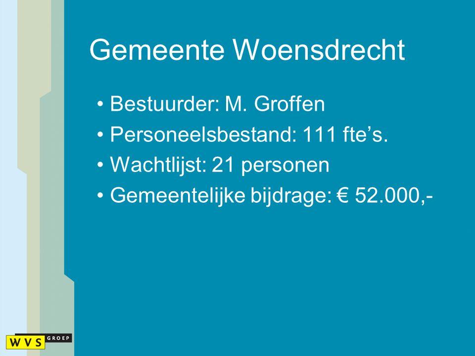 Gemeente Woensdrecht Bestuurder: M. Groffen Personeelsbestand: 111 fte's. Wachtlijst: 21 personen Gemeentelijke bijdrage: € 52.000,-