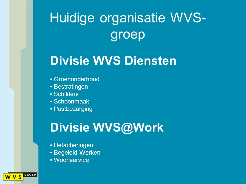 Huidige organisatie WVS- groep Divisie WVS Diensten Groenonderhoud Bestratingen Schilders Schoonmaak Postbezorging Divisie WVS@Work Detacheringen Begeleid Werken Woonservice
