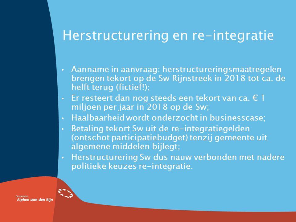 4. Het herstructureringsplan SWA Rijkssubsidie mag niet worden gebruikt om exploitatieverliezen (tekort op Wsw) af te dekken, Maar wel om hervormingen