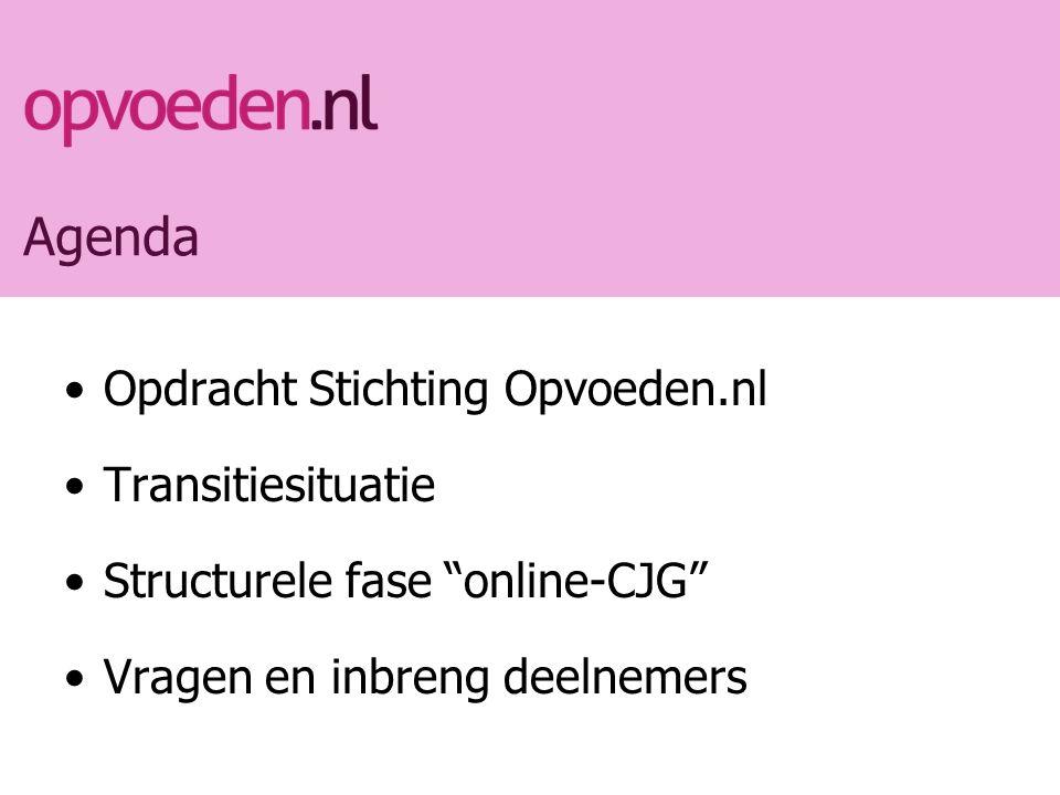 Agenda Opdracht Stichting Opvoeden.nl Transitiesituatie Structurele fase online-CJG Vragen en inbreng deelnemers