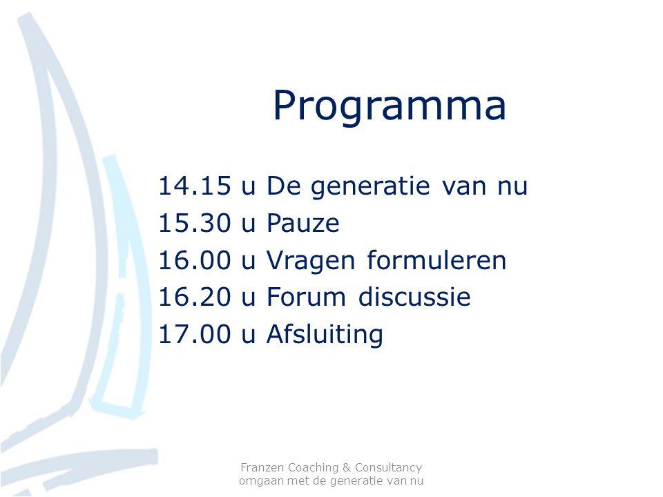 Programma 14.15 u De generatie van nu 15.30 u Pauze 16.00 u Vragen formuleren 16.20 u Forum discussie 17.00 u Afsluiting Franzen Coaching & Consultancy omgaan met de generatie van nu