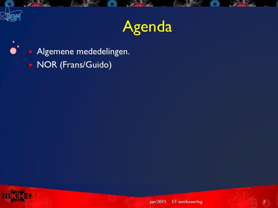 Agenda Algemene mededelingen. NOR (Frans/Guido) ET werkoverleg2jan/2015