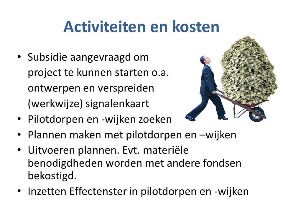 Activiteiten en kosten Subsidie aangevraagd om project te kunnen starten o.a.