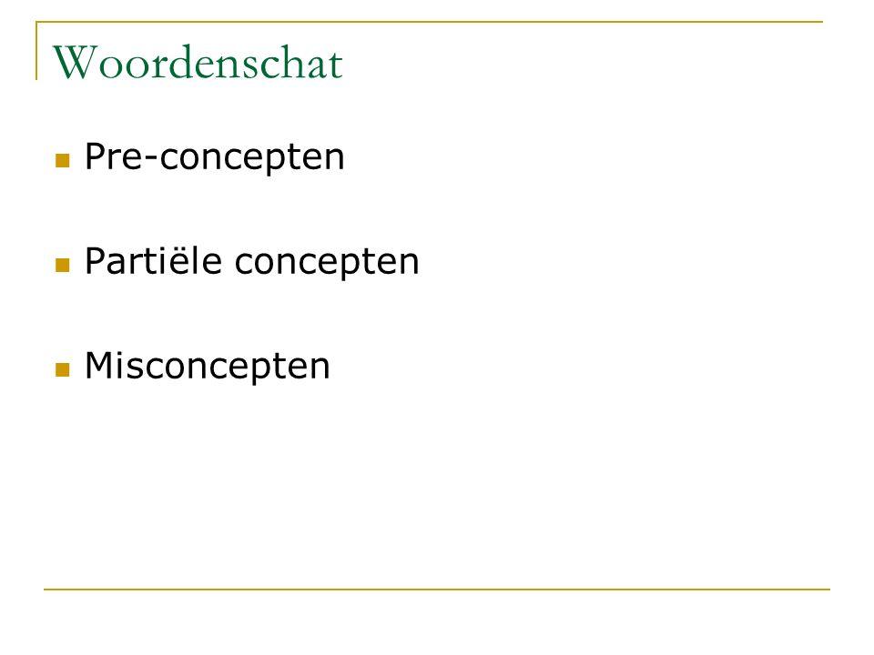 Pre-concepten Partiële concepten Misconcepten Woordenschat