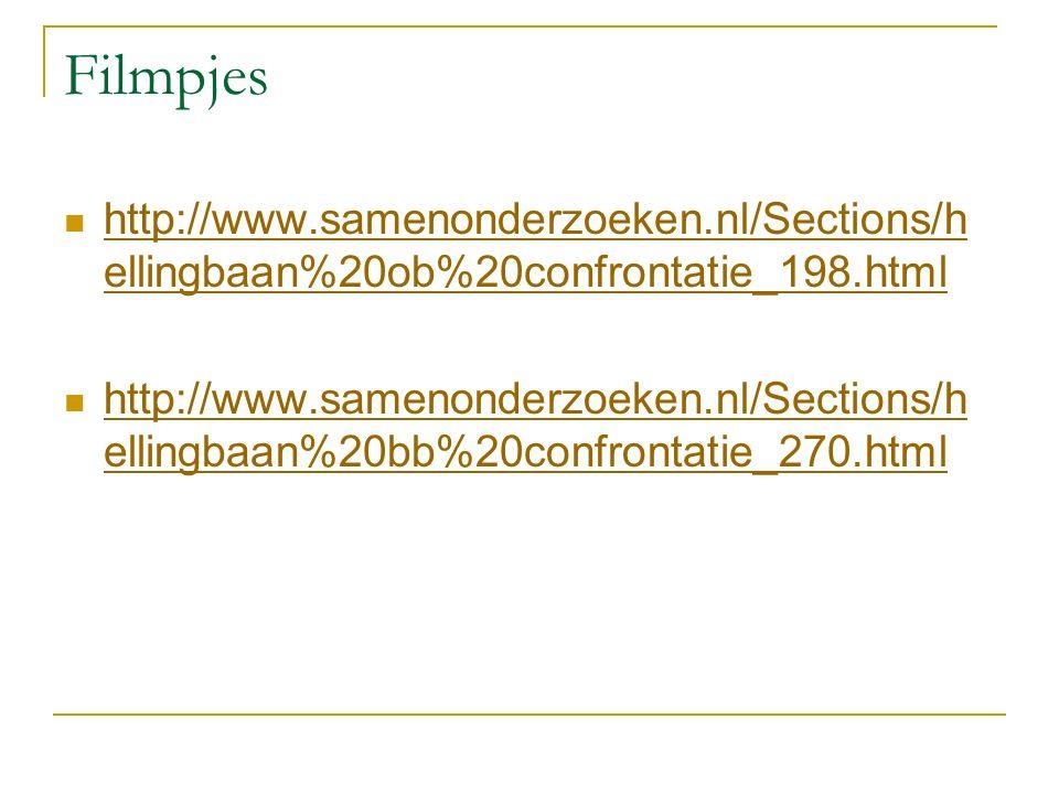 Filmpjes http://www.samenonderzoeken.nl/Sections/h ellingbaan%20ob%20confrontatie_198.html http://www.samenonderzoeken.nl/Sections/h ellingbaan%20ob%20confrontatie_198.html http://www.samenonderzoeken.nl/Sections/h ellingbaan%20bb%20confrontatie_270.html http://www.samenonderzoeken.nl/Sections/h ellingbaan%20bb%20confrontatie_270.html