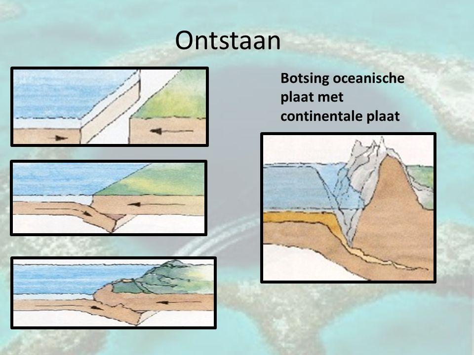 Ontstaan Botsing oceanische plaat met continentale plaat