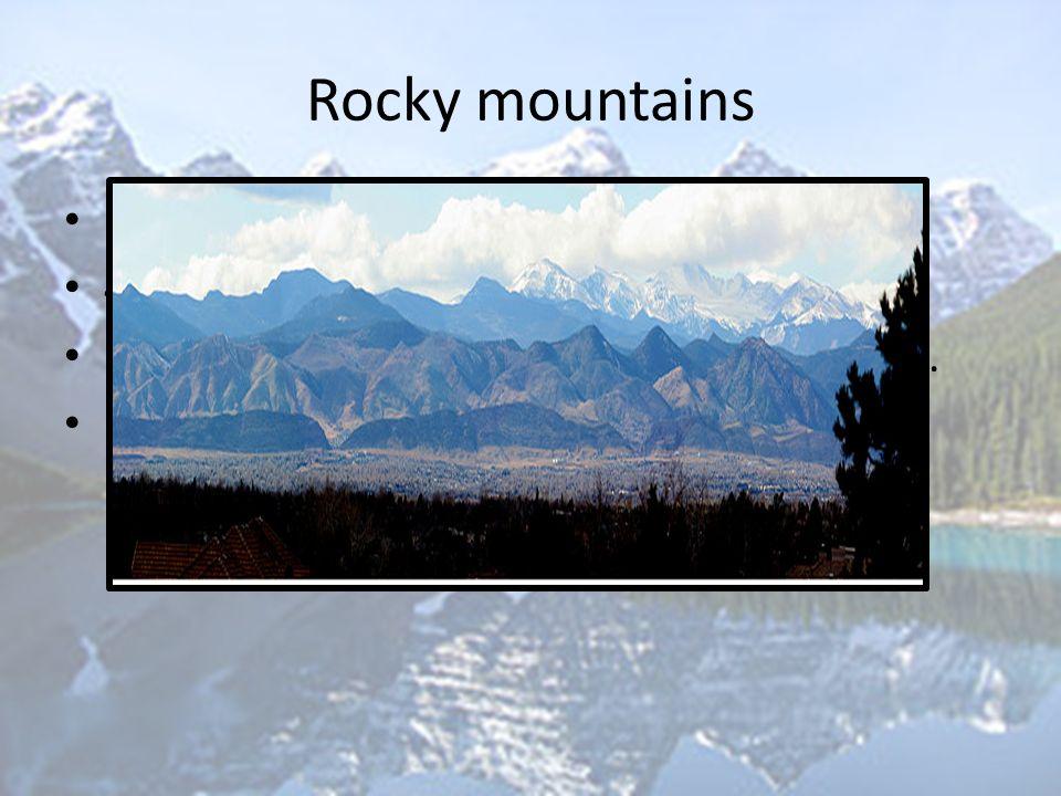 Rocky mountains Hooggebergte westen van Noord-Amerika 4800 km beslaan gebied new Mexico Erosie  diepe valleien, steilen bergtoppen. Populaire vakanti