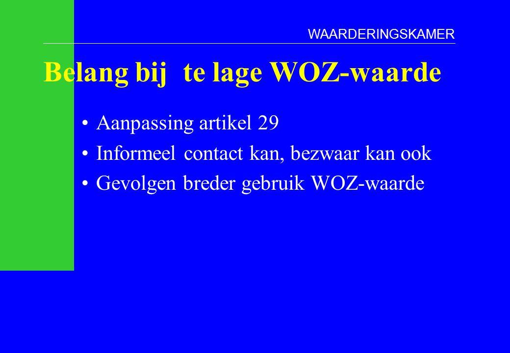 Belang bij te lage WOZ-waarde Aanpassing artikel 29 Informeel contact kan, bezwaar kan ook Gevolgen breder gebruik WOZ-waarde WAARDERINGSKAMER