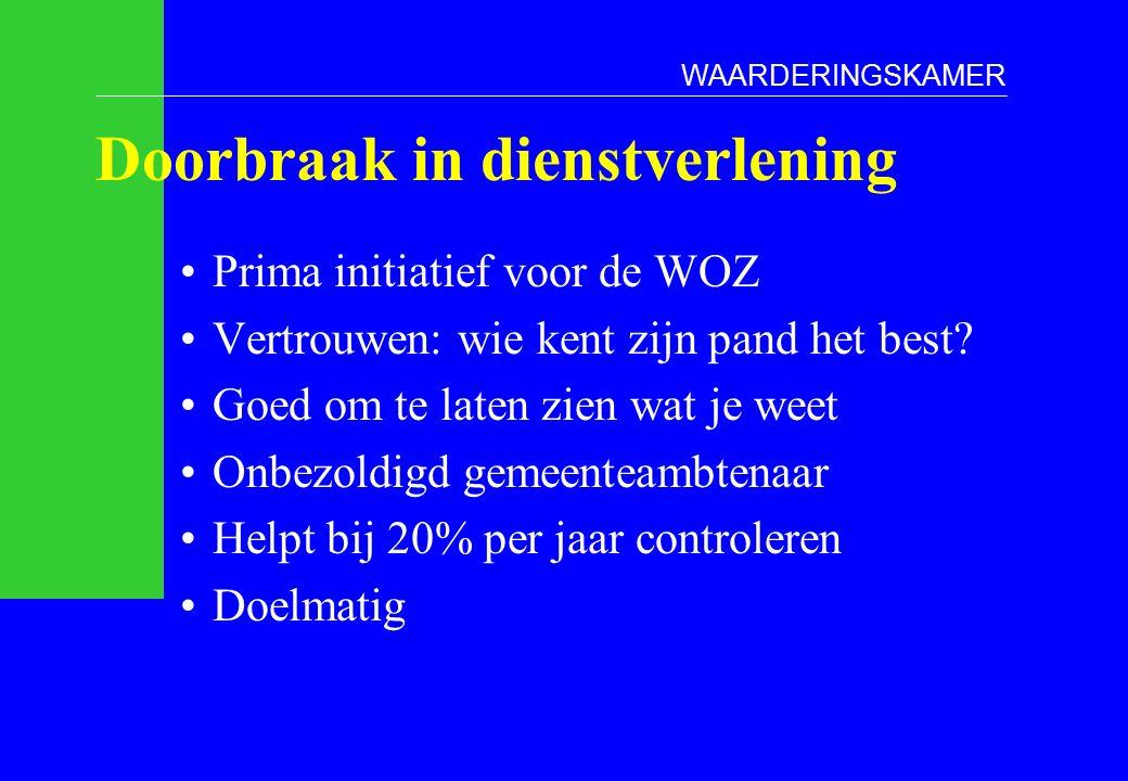 Doorbraak in dienstverlening Prima initiatief voor de WOZ Vertrouwen: wie kent zijn pand het best.