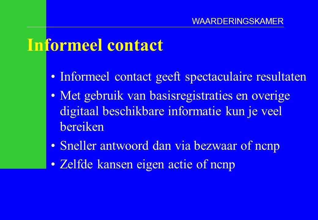 Informeel contact Informeel contact geeft spectaculaire resultaten Met gebruik van basisregistraties en overige digitaal beschikbare informatie kun je veel bereiken Sneller antwoord dan via bezwaar of ncnp Zelfde kansen eigen actie of ncnp WAARDERINGSKAMER