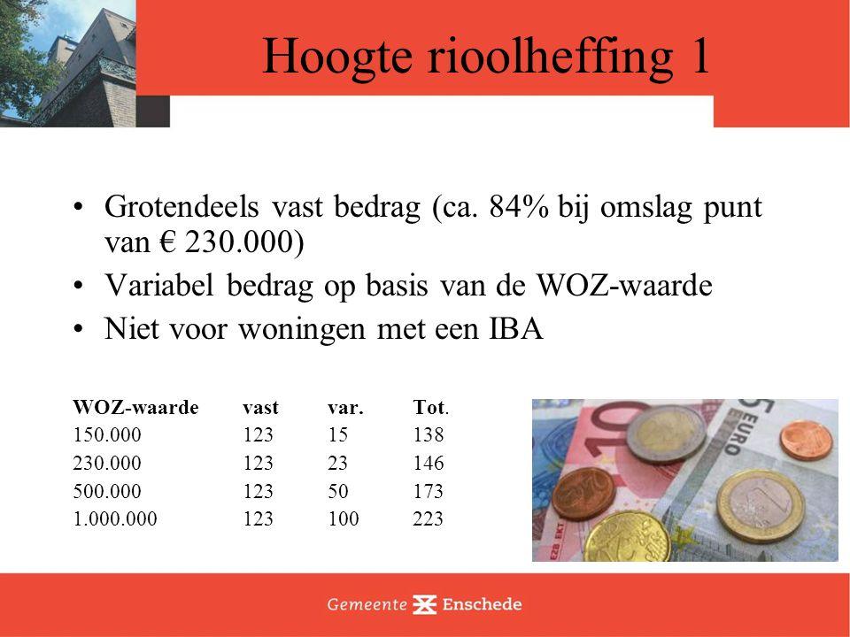 Hoogte rioolheffing 1 Grotendeels vast bedrag (ca. 84% bij omslag punt van € 230.000) Variabel bedrag op basis van de WOZ-waarde Niet voor woningen me