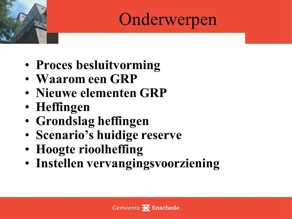 Onderwerpen Proces besluitvorming Waarom een GRP Nieuwe elementen GRP Heffingen Grondslag heffingen Scenario's huidige reserve Hoogte rioolheffing Instellen vervangingsvoorziening