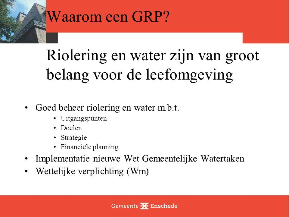Waarom een GRP? Riolering en water zijn van groot belang voor de leefomgeving Goed beheer riolering en water m.b.t. Uitgangspunten Doelen Strategie Fi