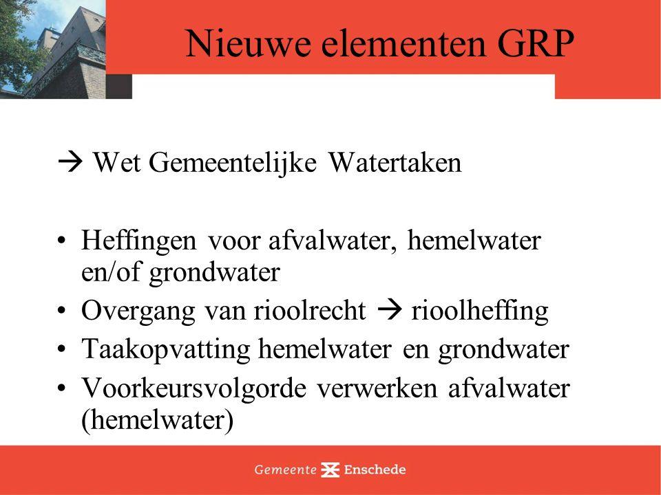 Nieuwe elementen GRP  Wet Gemeentelijke Watertaken Heffingen voor afvalwater, hemelwater en/of grondwater Overgang van rioolrecht  rioolheffing Taakopvatting hemelwater en grondwater Voorkeursvolgorde verwerken afvalwater (hemelwater)