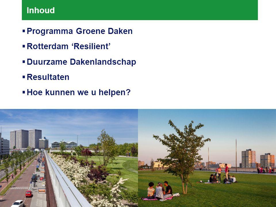 24-03-2016 2 Inhoud  Programma Groene Daken  Rotterdam 'Resilient'  Duurzame Dakenlandschap  Resultaten  Hoe kunnen we u helpen
