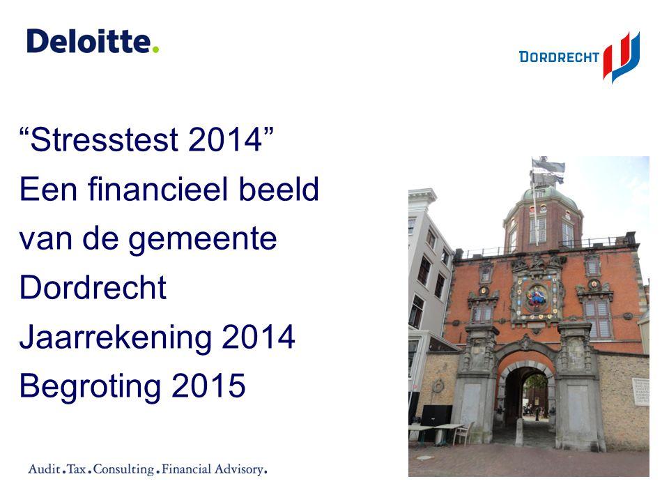 """""""Stresstest 2014"""" Een financieel beeld van de gemeente Dordrecht Jaarrekening 2014 Begroting 2015"""