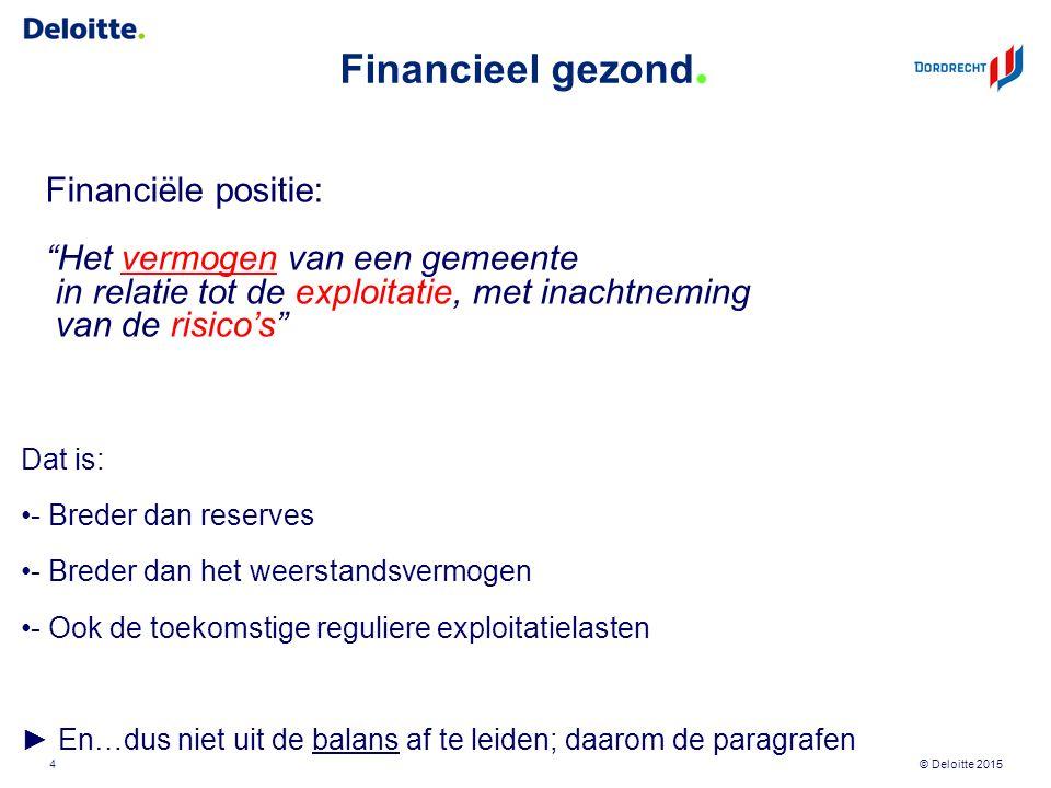 """© Deloitte 2015 Financieel gezond. Financiële positie: """"Het vermogen van een gemeente in relatie tot de exploitatie, met inachtneming van de risico's"""""""